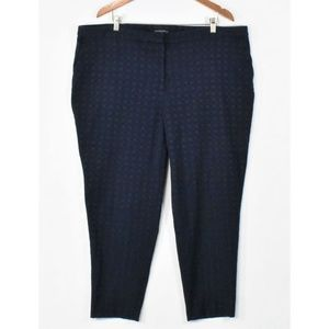 Cynthia Rowley Navy Jacquard Dress Ankle Pants 22W